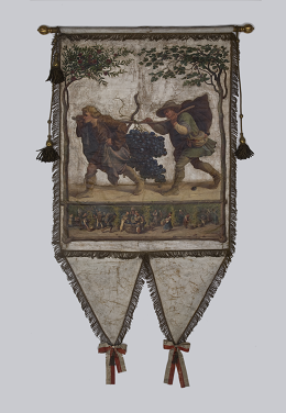 Das Foto zeigt die Fahne der Weingärtner für die 4. Säkularfeier zur Erfindung des Buchdrucks