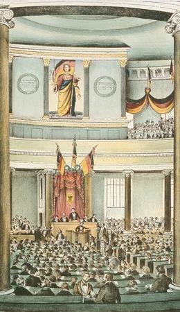 Das Gemälde zeigt die verfassungsgebende deutsche Nationalversammlung in der Pauskirche 1848