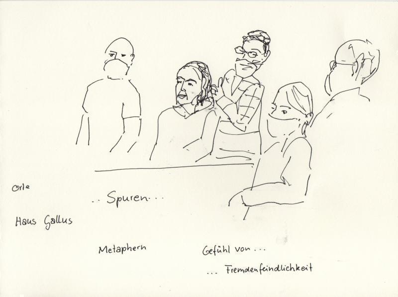 Teilnehmer*innen eines Stadtlabor-Workshops. Zeichnung: HMF, Katharina Müller