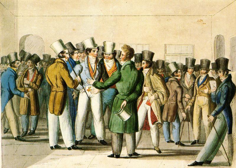 Börsenversammlung um 1840