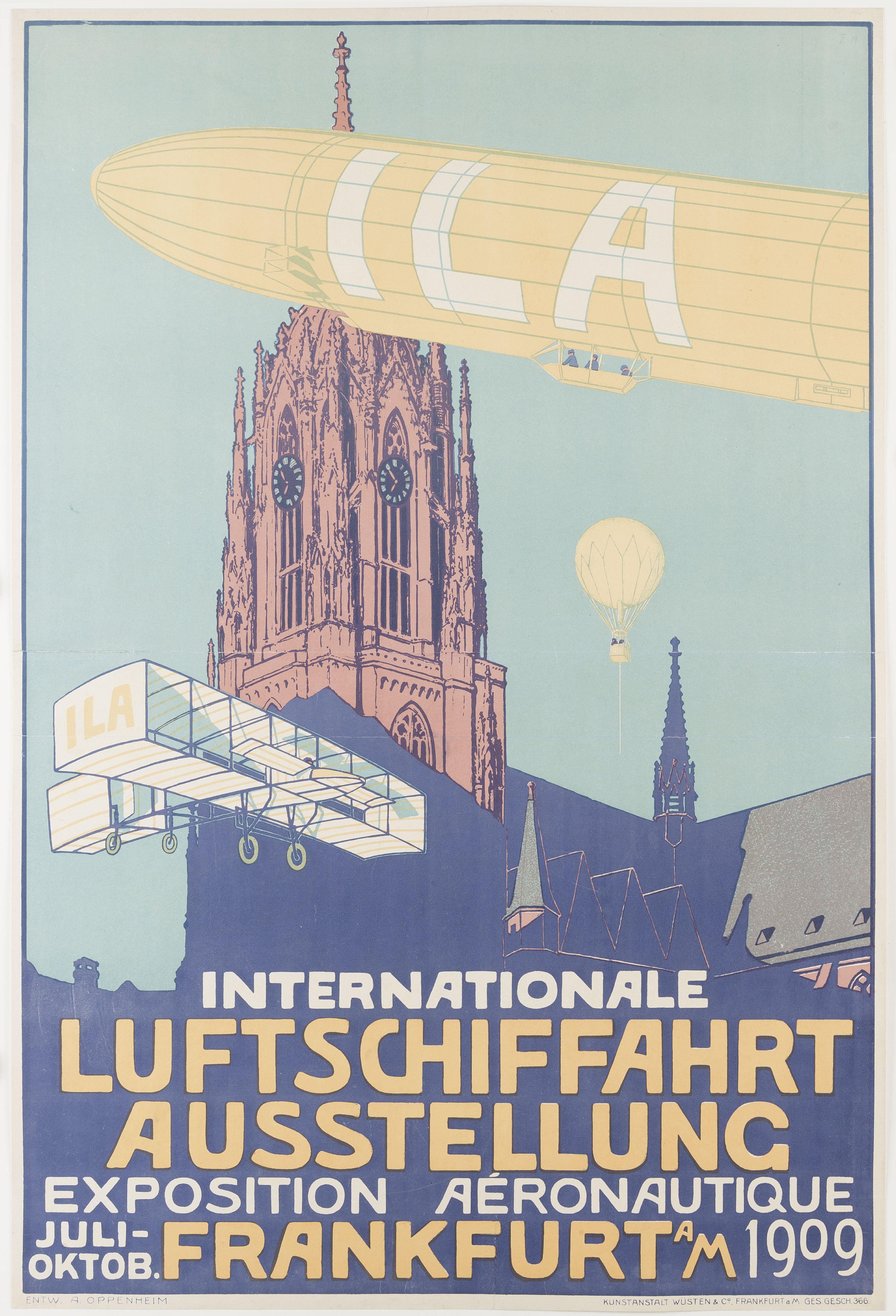 Diese Bild zeigt ein Plakat zur Internationalen Luftschiffahrt Ausstellung in Frankfurt 1909