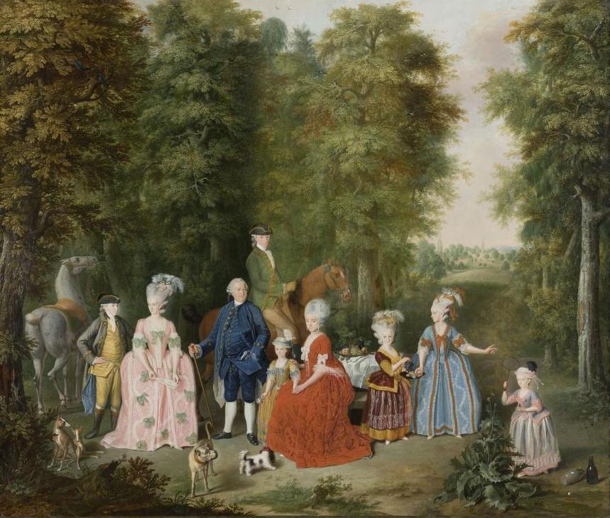 Abbildung des Gemäldes Die Familie Johann Noë Gogel II. im Freien von Johann Daniel Bager (1734-1815)