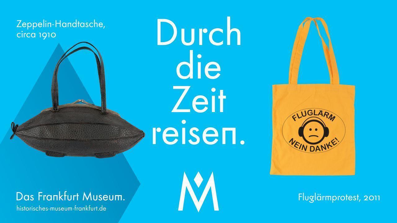 Zeppelin-Handtasche (ca. 1910) und Jutetasche Fluglärm-Protest 2011