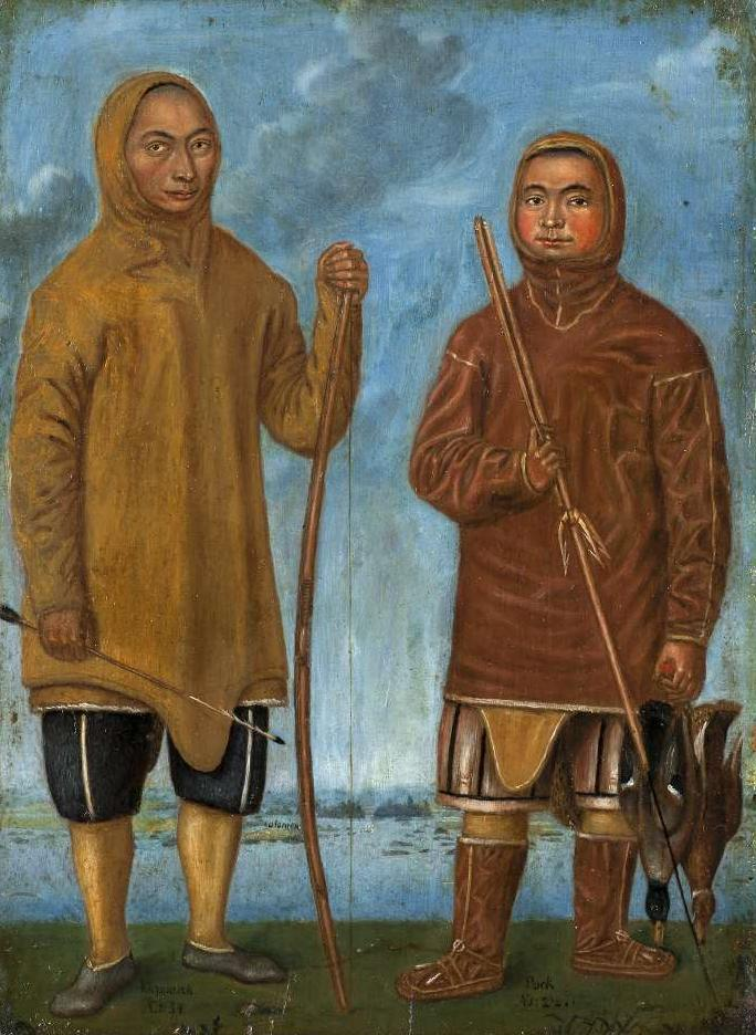 Das Gemälde zeigt die zwei Grönländer Pooq und Quiperoq mit Pfeil und Bogen und Sper ausgestattet.