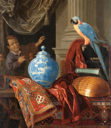 Das Gemälde zeigt eine Frankfurter Fayencevase auf orientalischem Teppich neben Papagei